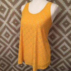 Goldenrod Yellow Eyelet Tank Top Blouse!